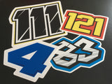 Printed Race Number Decals - Your Custom Artwork