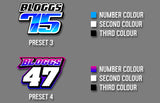 MX Jersey Iron On Decals - Back Name & Number, From Preset Design