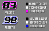 Printed Race Number Decals - From Preset Template