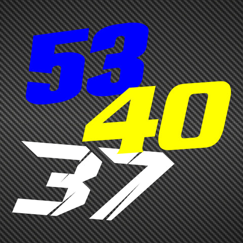 Contour Cut Race Number Decals - Your Custom Artwork