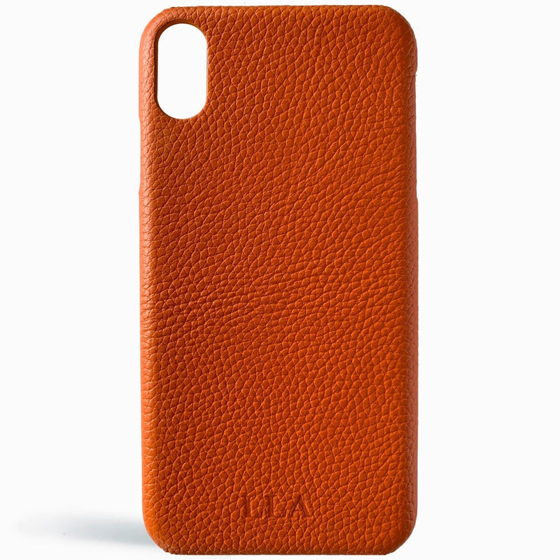 Orange Top Grain Leather iPhone Case