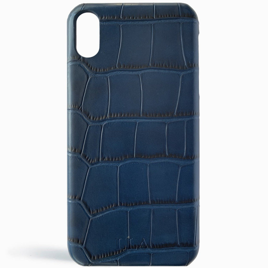 Dark Blue Croc Leather iPhone Case