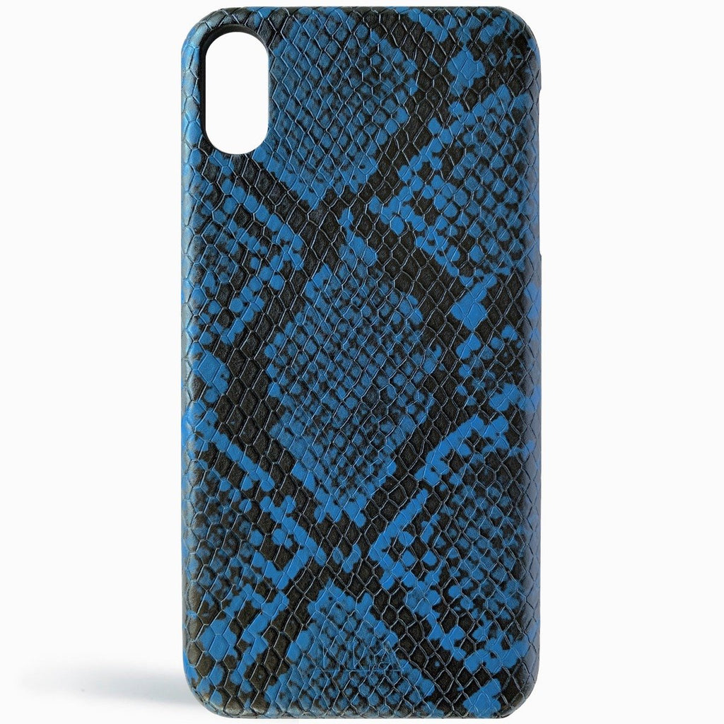 Blue Python Embossed Leather iPhone Case