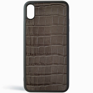Dark Grey Croc Leather iPhone Case