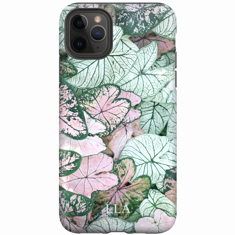 Pink & Green Flowers TPU iPhone Case