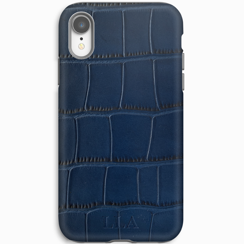 Dark Blue Croc iPhone Case