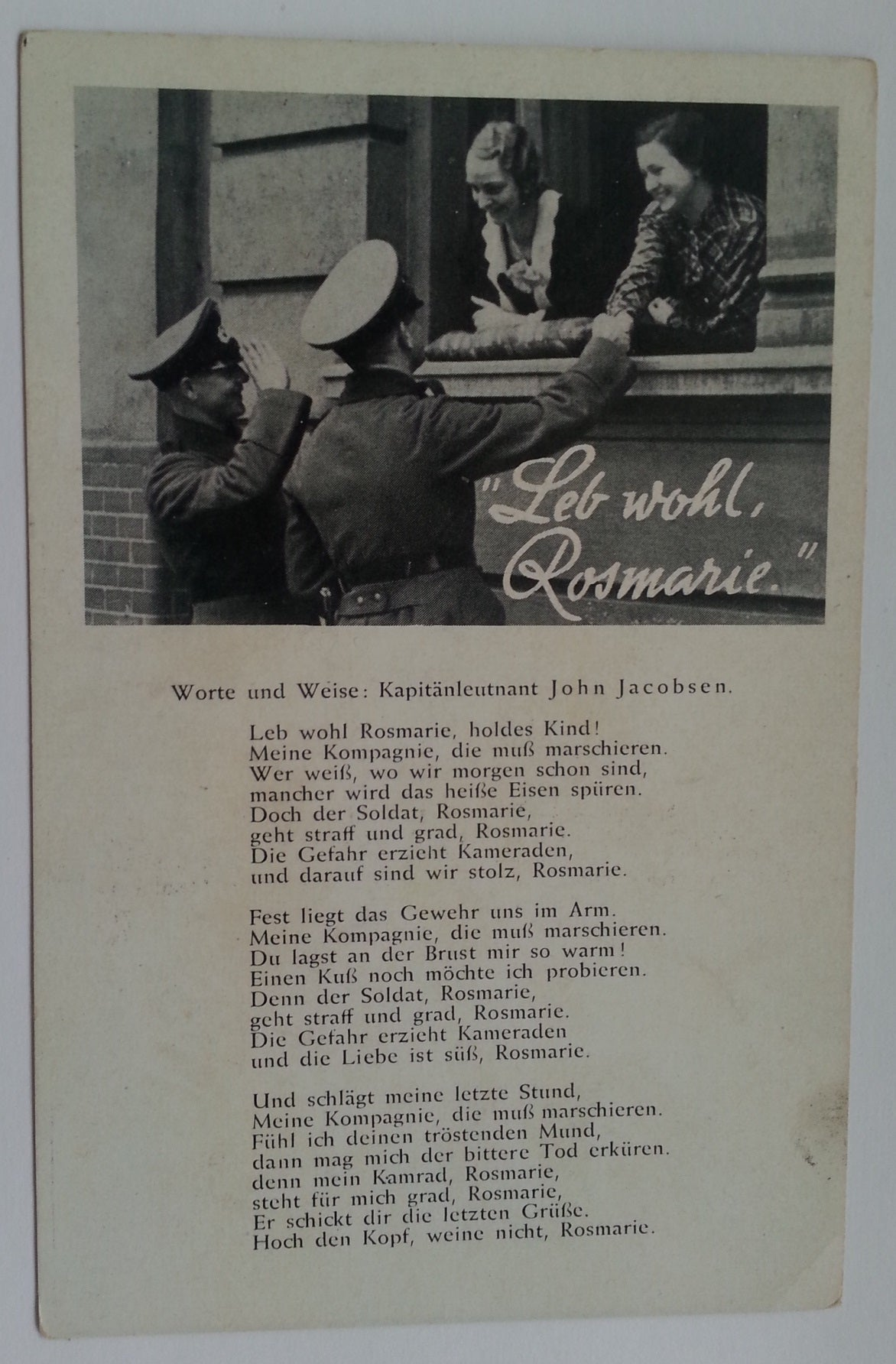 """Leb wohl, Rosemarie"" Song Postcard"