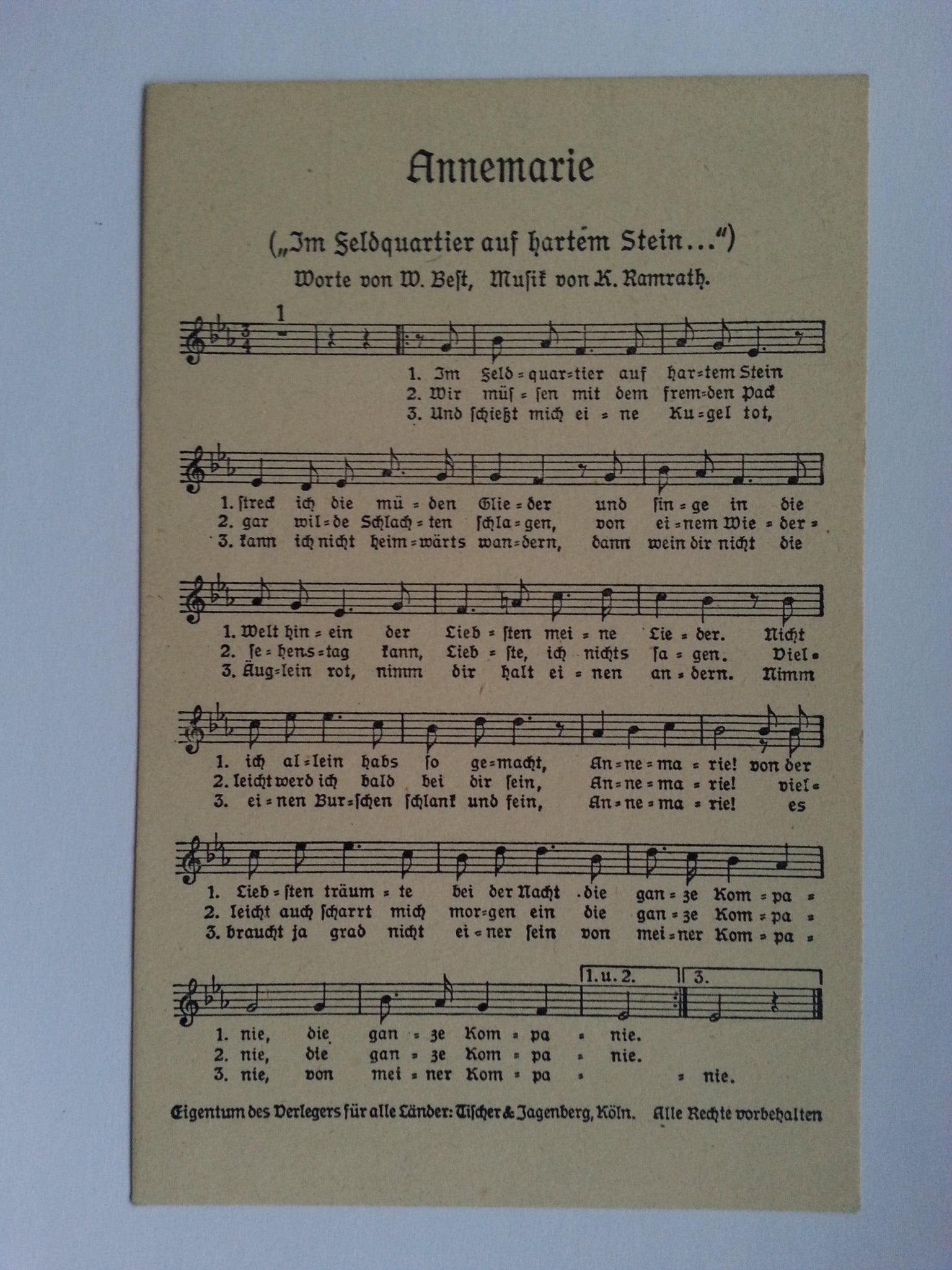"""Annemarie"" Song Postcard"