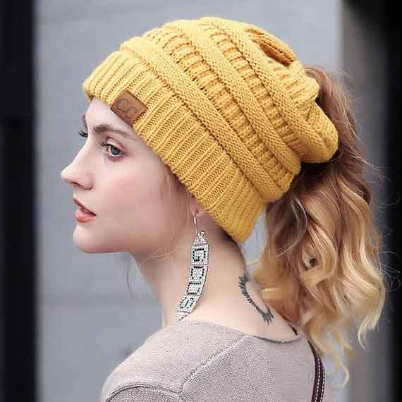 Knitted Ponytail Beanie - Sequel Beauty
