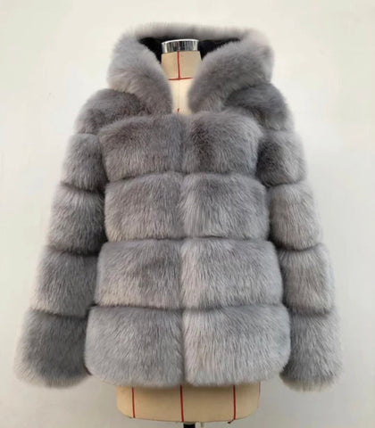 PRE ORDER - Faux Fur Hood Jacket (Grey)