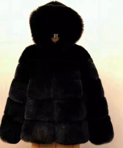 PRE ORDER - Faux Fur Hood Jacket (Black)