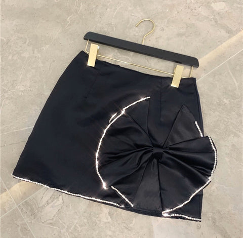 PRE ORDER - Doll Satin Skirt Black