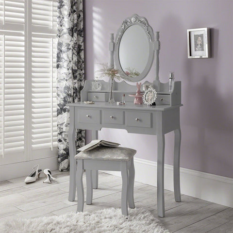 capri grey dressing table with oval mirror and stool