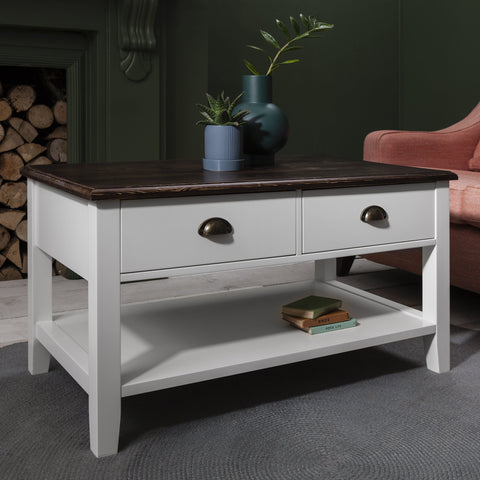 Chatsworth white coffee table wood effect top