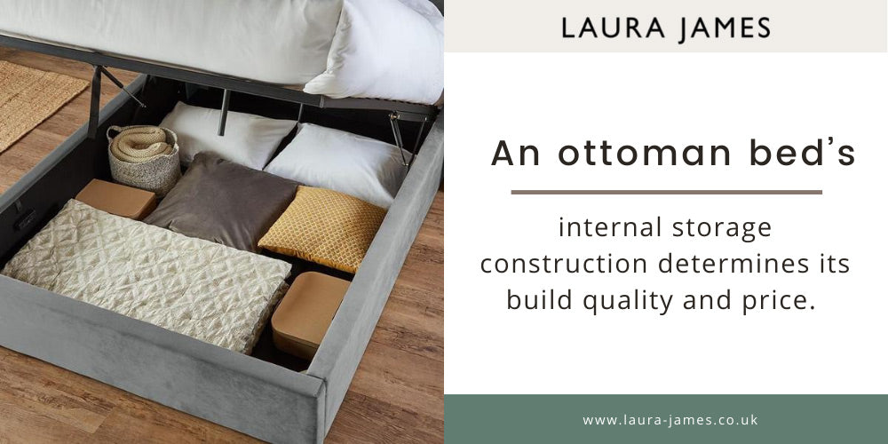 storage compartment of a Laura James Otto Ottoman bed
