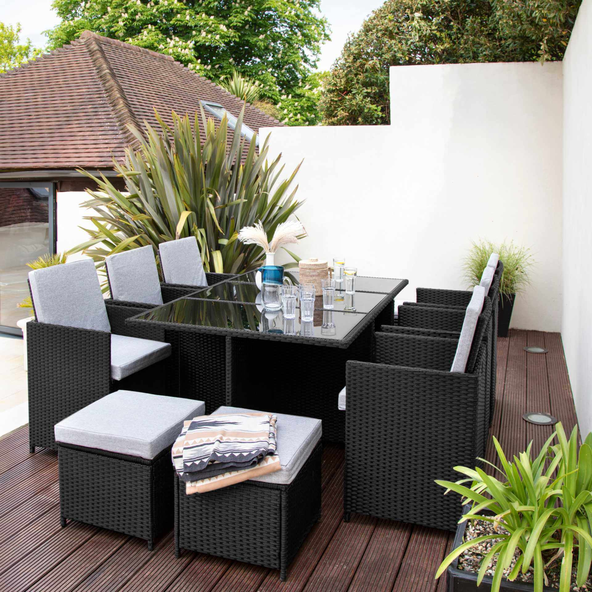 10 Seater Rattan Cube Outdoor Dining Set - Black Weave