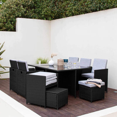 10 Seat Rattan Cube Outdoor Dining Set with Premium Parasol and Parasol Rain Cover - Black Weave - In Stock Date - 7th August 2020