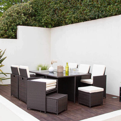 10 Seat Rattan Cube Outdoor Dining Set with Premium Parasol and Parasol Rain Cover - Mixed Brown Weave