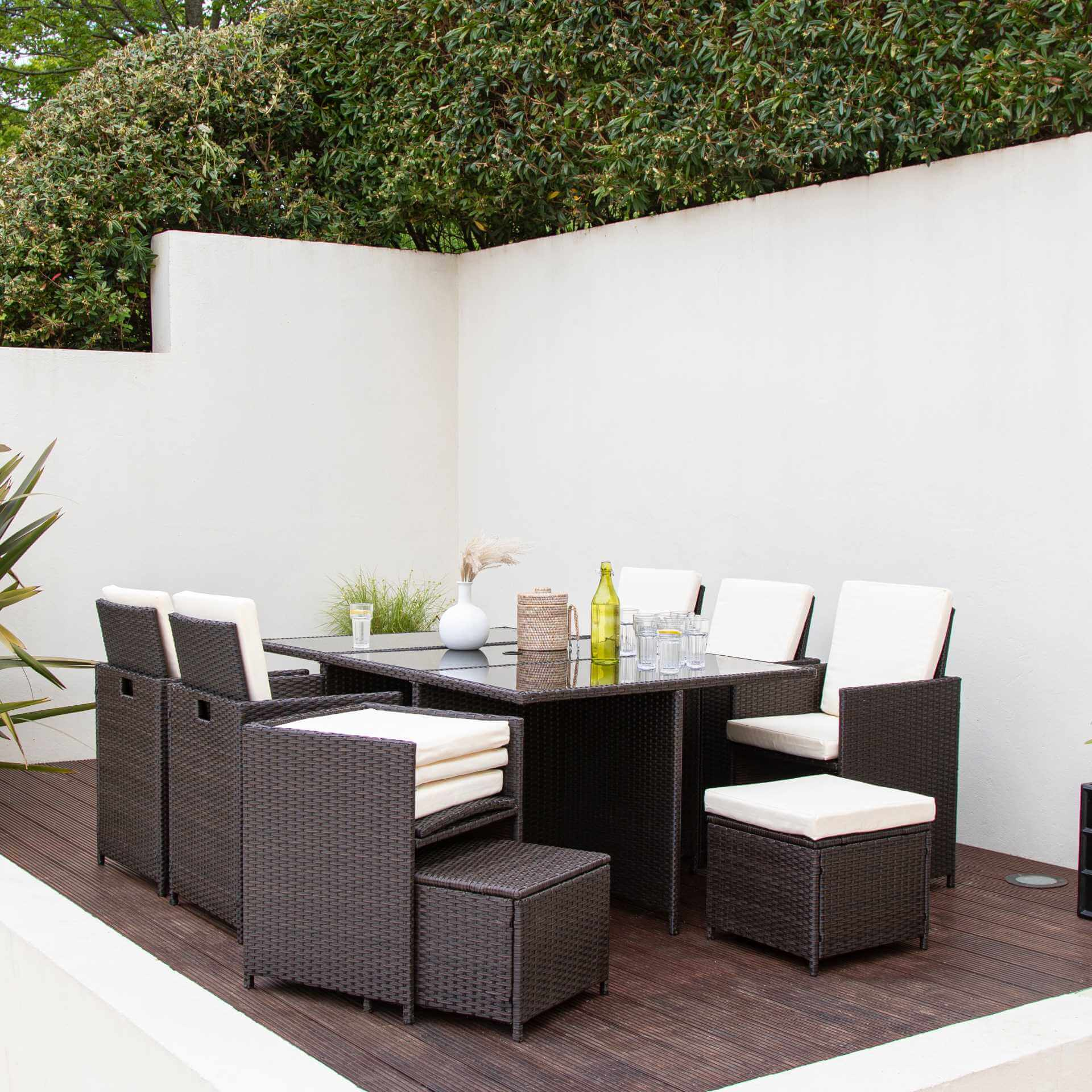 10 Seater Rattan Cube Outdoor Dining Set - Mixed Brown Weave