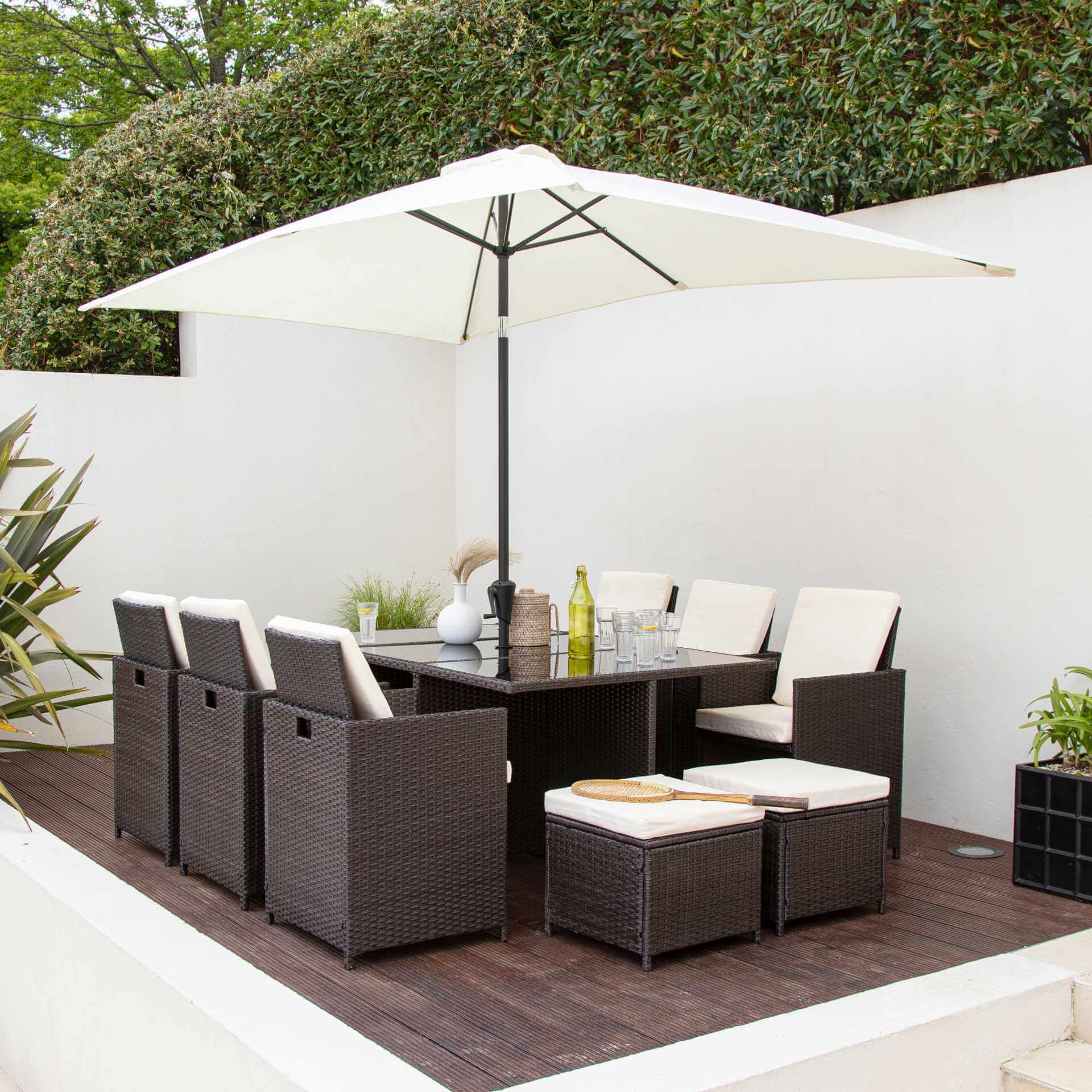 10 Seater Rattan Cube Outdoor Dining Set with Parasol - Mixed Brown Weave