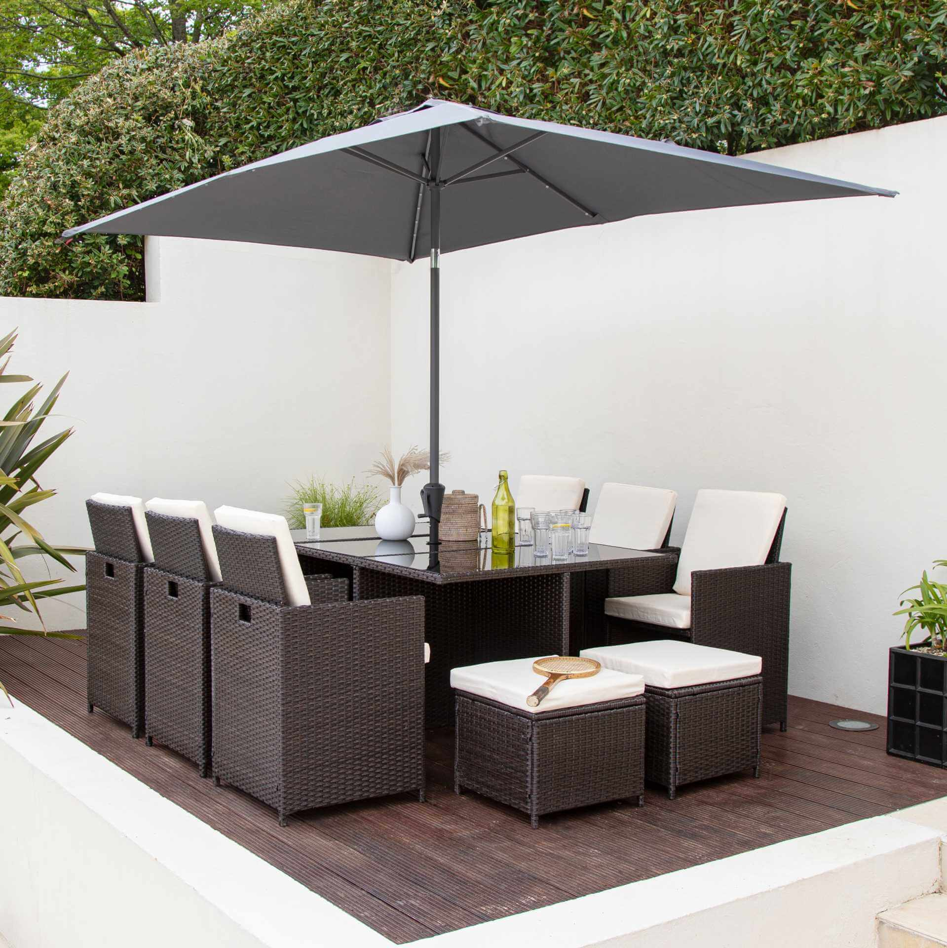 10 Seater Rattan Cube Garden Dining Set with Parasol - Mixed Brown Weave