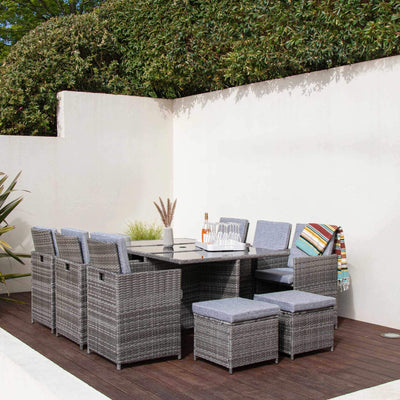 10 Seat Rattan Cube Outdoor Dining Set with Premium Parasol and Parasol Rain Cover - Grey Weave