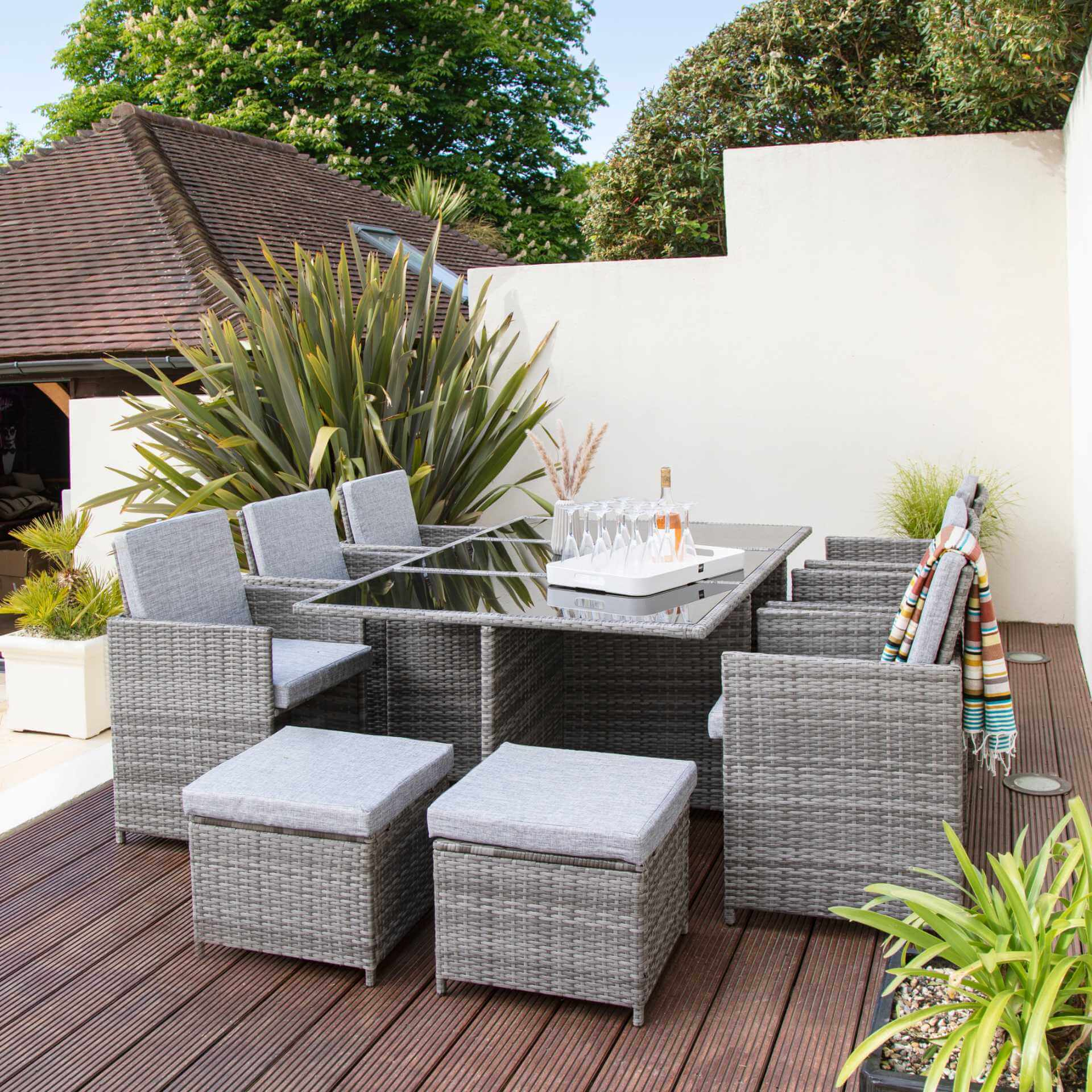10 Seater Rattan Cube Outdoor Dining Set - Grey Weave - Laura James