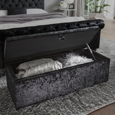Ottoman Storage Chest Box in Black Velvet Fabric - Laura James