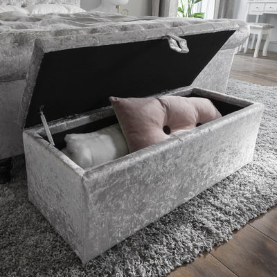 Ottoman Storage Chest Box in Silver Velvet Fabric - Laura James