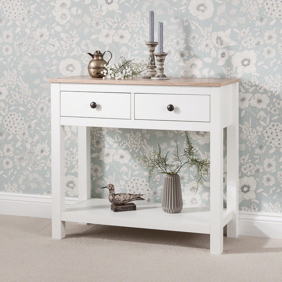 White Console Table 3 Drawers With Shelf Laura James