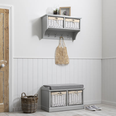 Fyfield Grey Hallway Storage Bench - Laura James