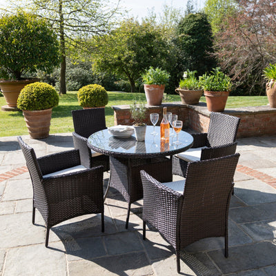 4 Seater Rattan Round Dining Table & Chair Set Brown - Garden Furniture Outdoor - In Stock Date - 30th June 2020 - Laura James