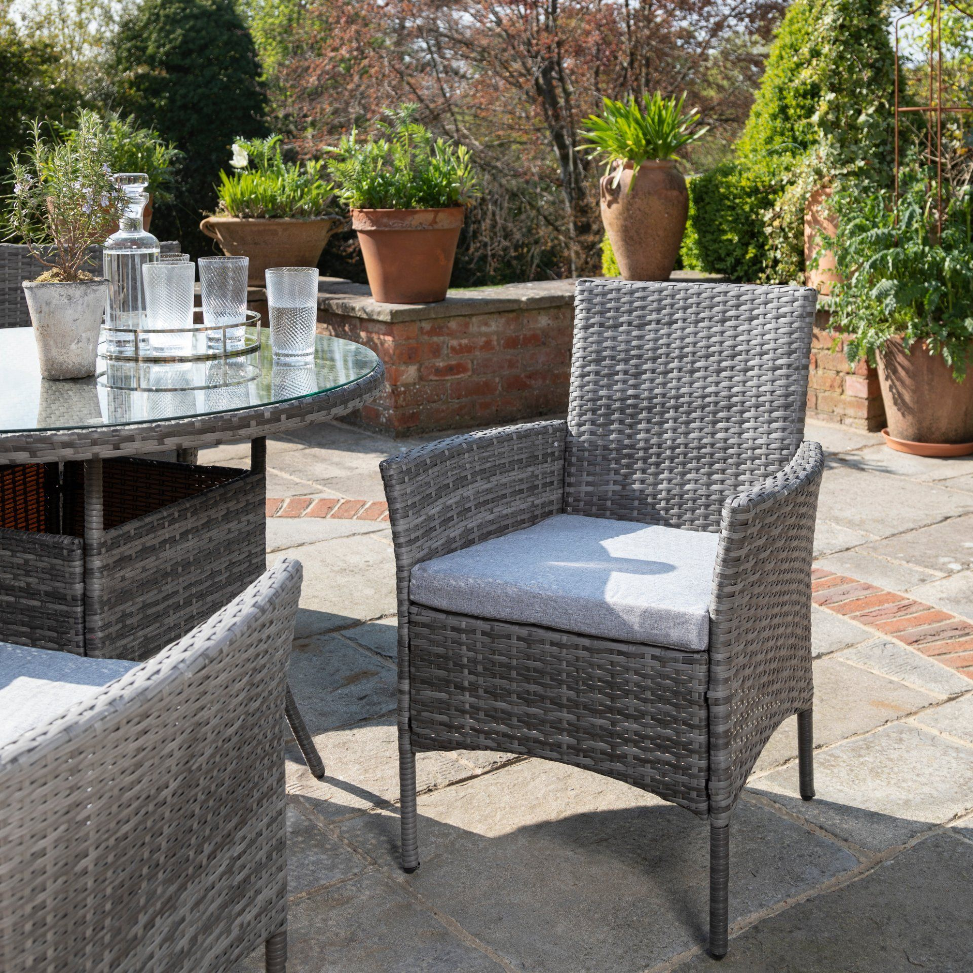 4 Seater Rattan Round Dining Table Chair Set Grey Laura James