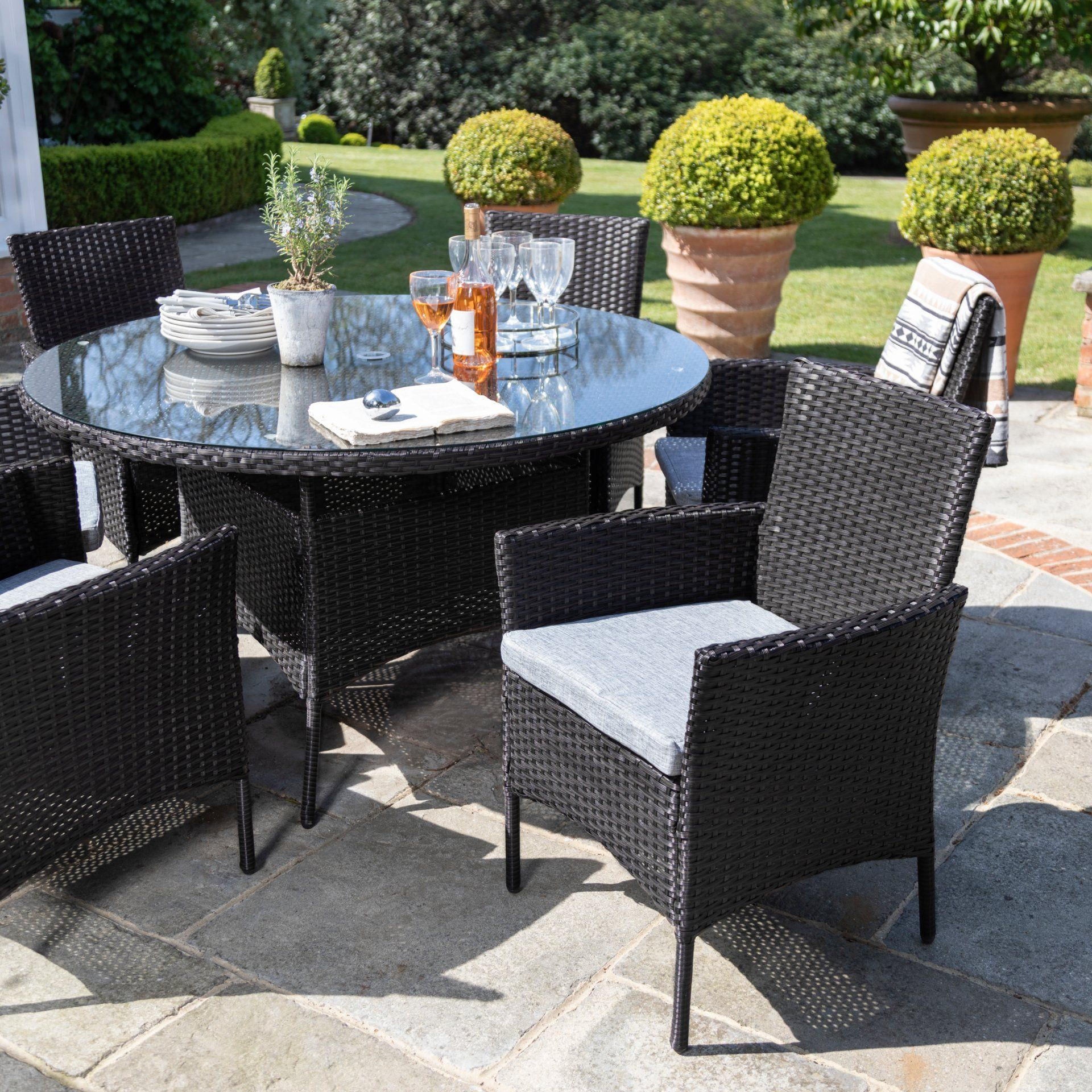 7 Seater Rattan Round Dining Table Set in Black - Garden Furniture
