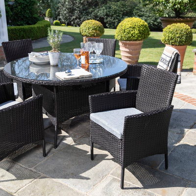 6 Seater Rattan Round Dining Set with Parasol - Rattan Garden Furniture - Black - In Stock Date - 30th June 2020 - Laura James