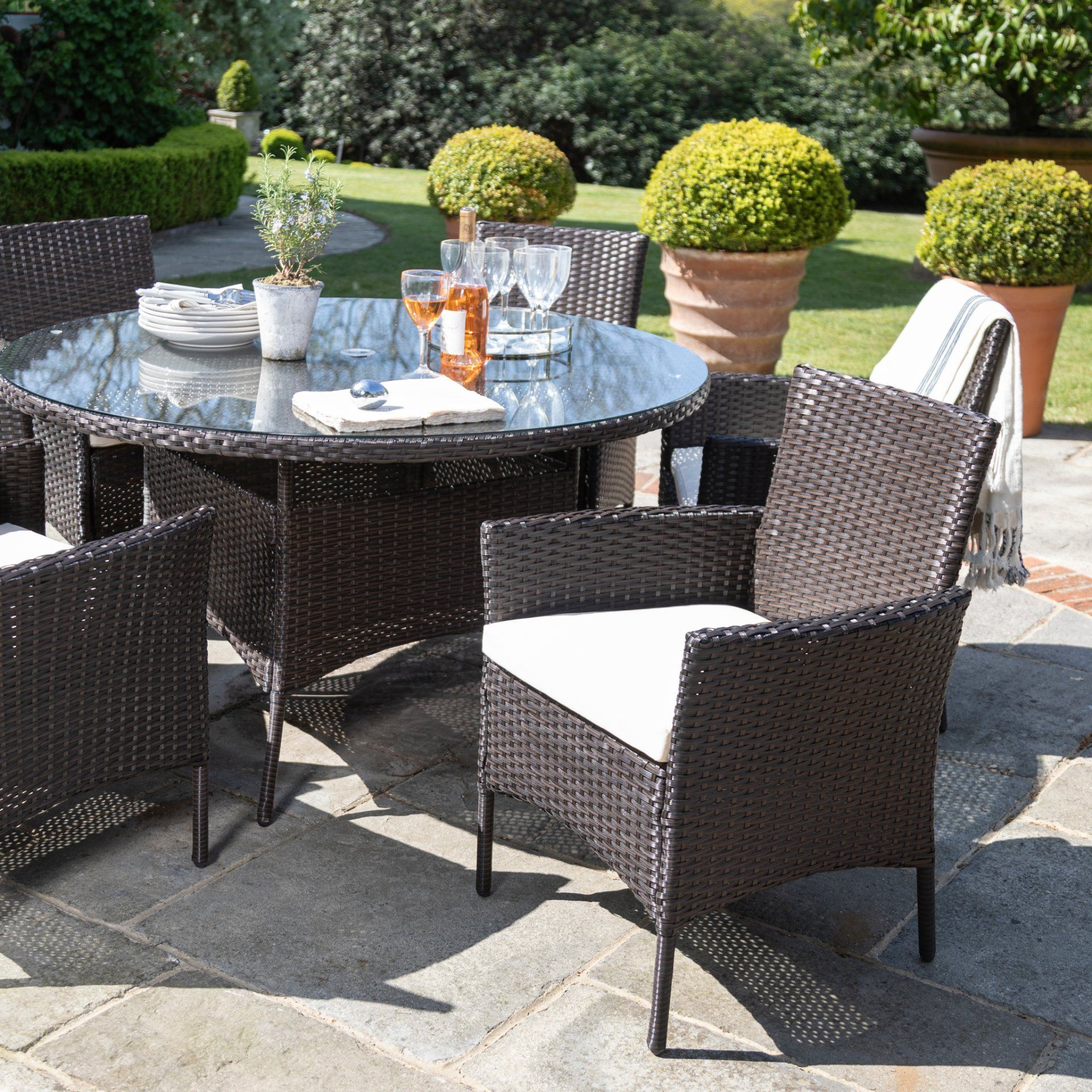 6 Seater Rattan Round Dining Table Set In Brown Garden Furniture Out Laura James