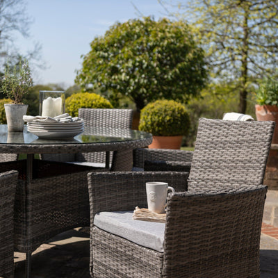 6 Seater Rattan Dining Table Set in Grey - Garden Furniture Outdoor - In Stock Date - 30th June 2020 - Laura James