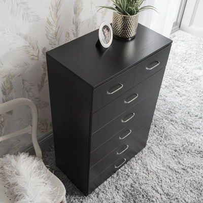 7 Drawer Tall Chest of Drawers in Black - Laura James