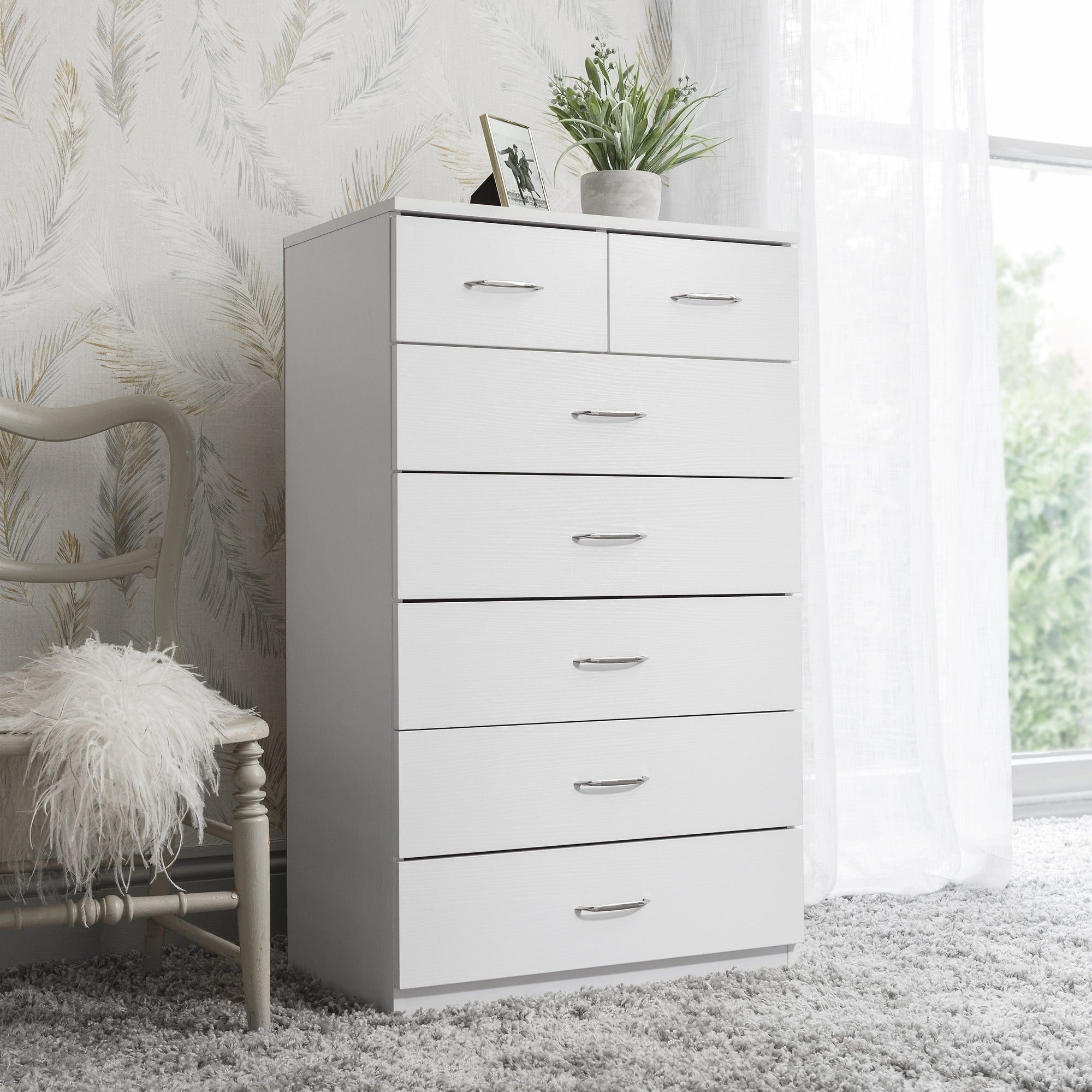 new arrival 51c17 1c7cb 7 Drawer Tall Chest of Drawers in White