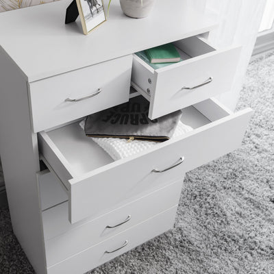 7 Drawer Tall Chest of Drawers in White - Laura James