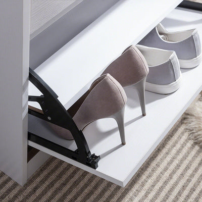 Shoe Cabinet Wooden Storage Rack (White) - Laura James