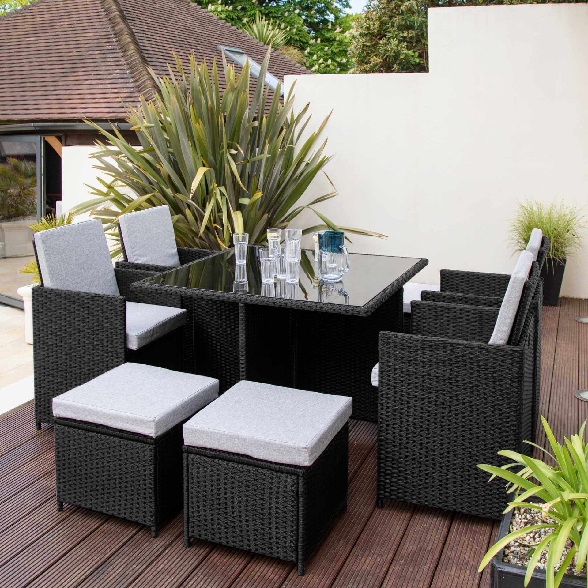 8 Seater Rattan Cube Outdoor Dining Set - Black Weave - Laura James