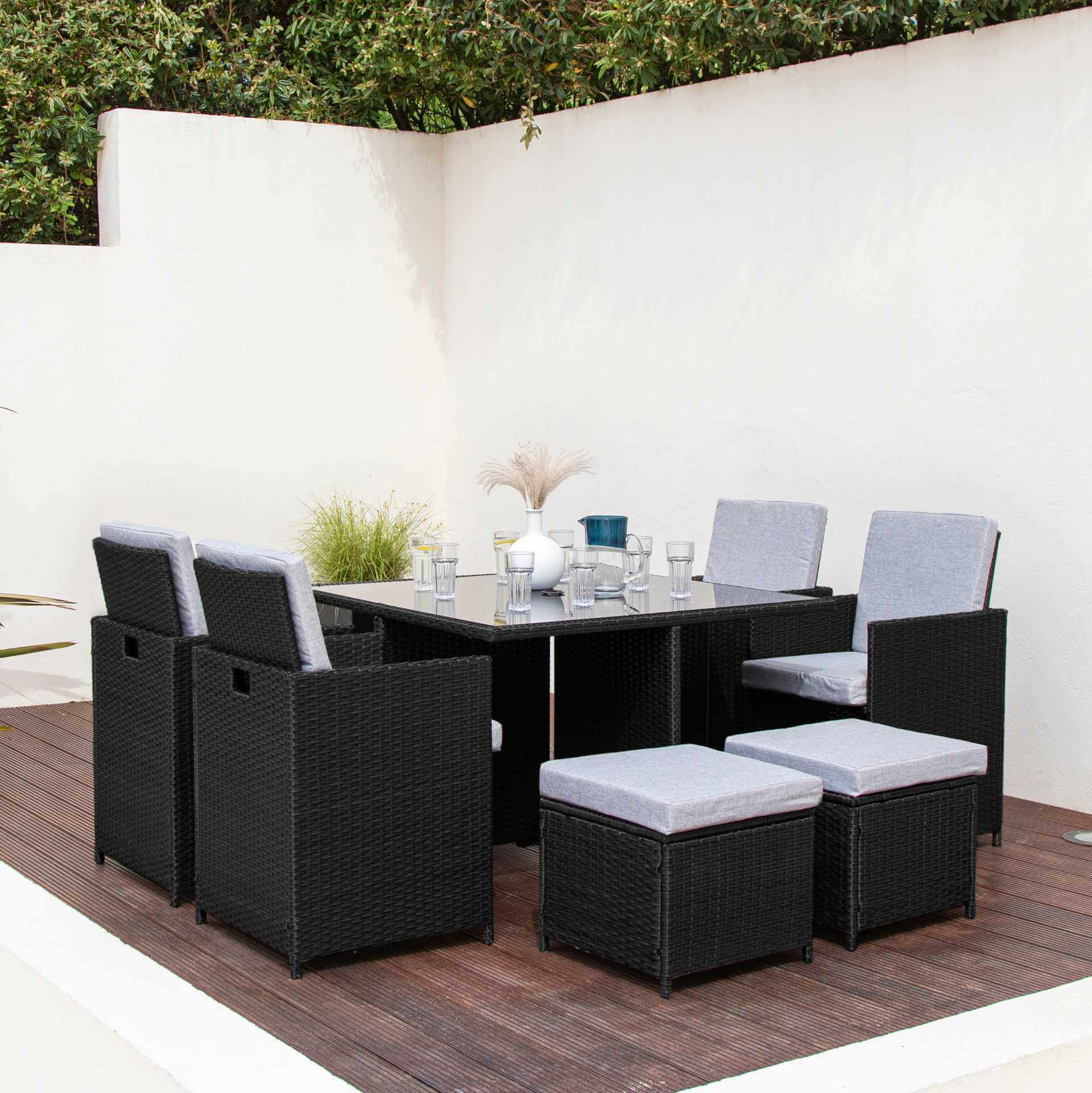 8 Seater Rattan Cube Outdoor Dining Set - Black Weave