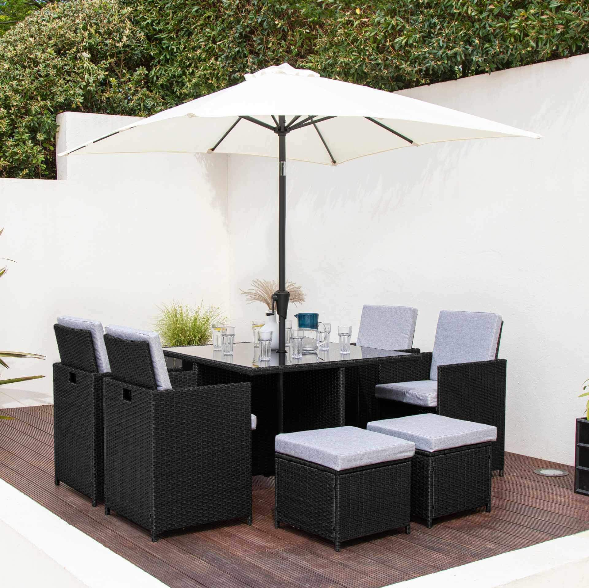8 Seat Rattan Cube Outdoor Dining Set with Premium Parasol and Parasol Rain Cover - Black Weave - Laura James
