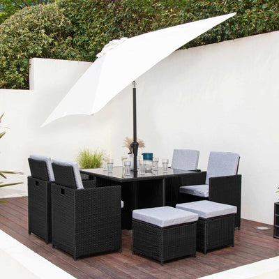 8 Seater Rattan Cube Outdoor Dining Set with Parasol - Black Weave - In Stock Date - 14th August 2020