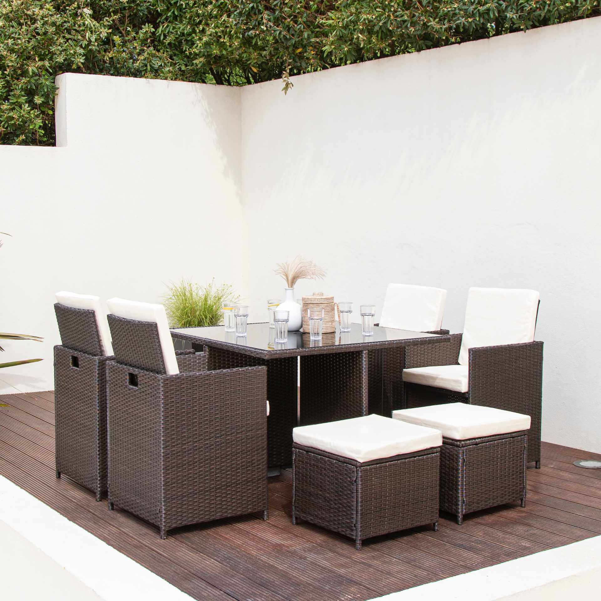 8 Seater Rattan Cube Outdoor Dining Set - Mixed Brown Weave - Laura James