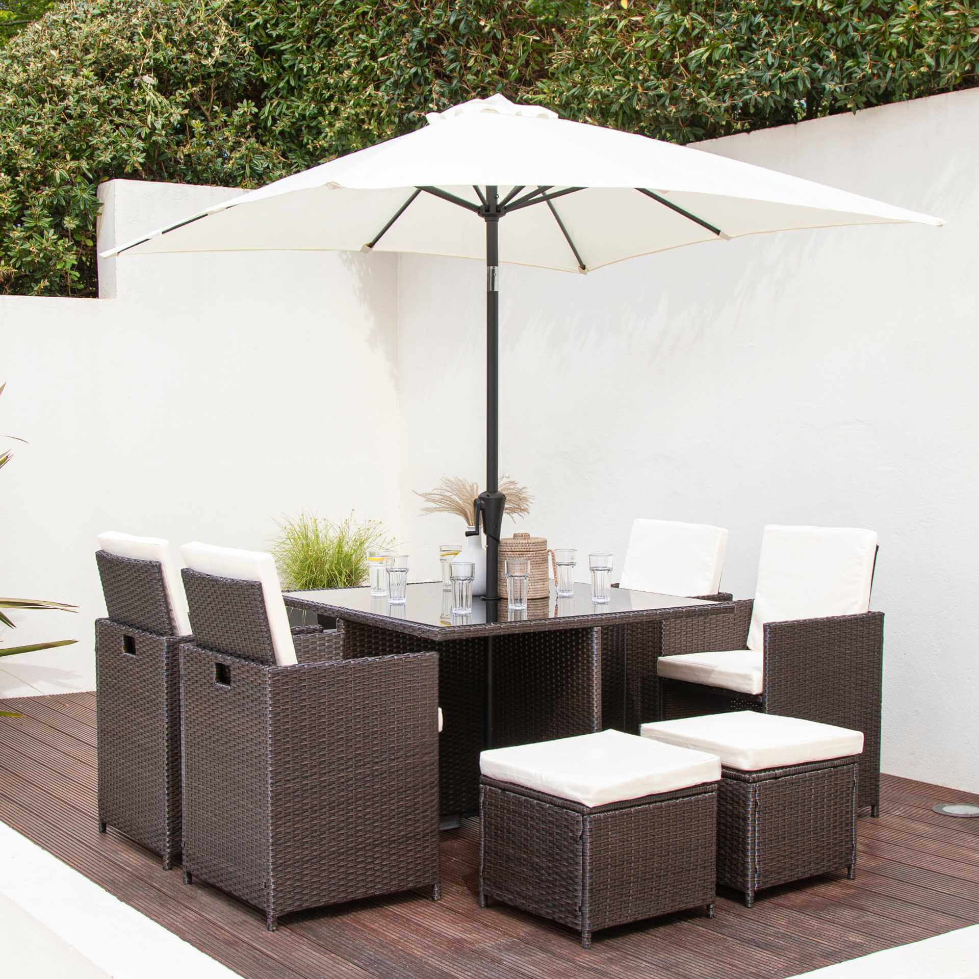 8 Seater Rattan Cube Outdoor Dining Set with Parasol - Mixed Brown Weave