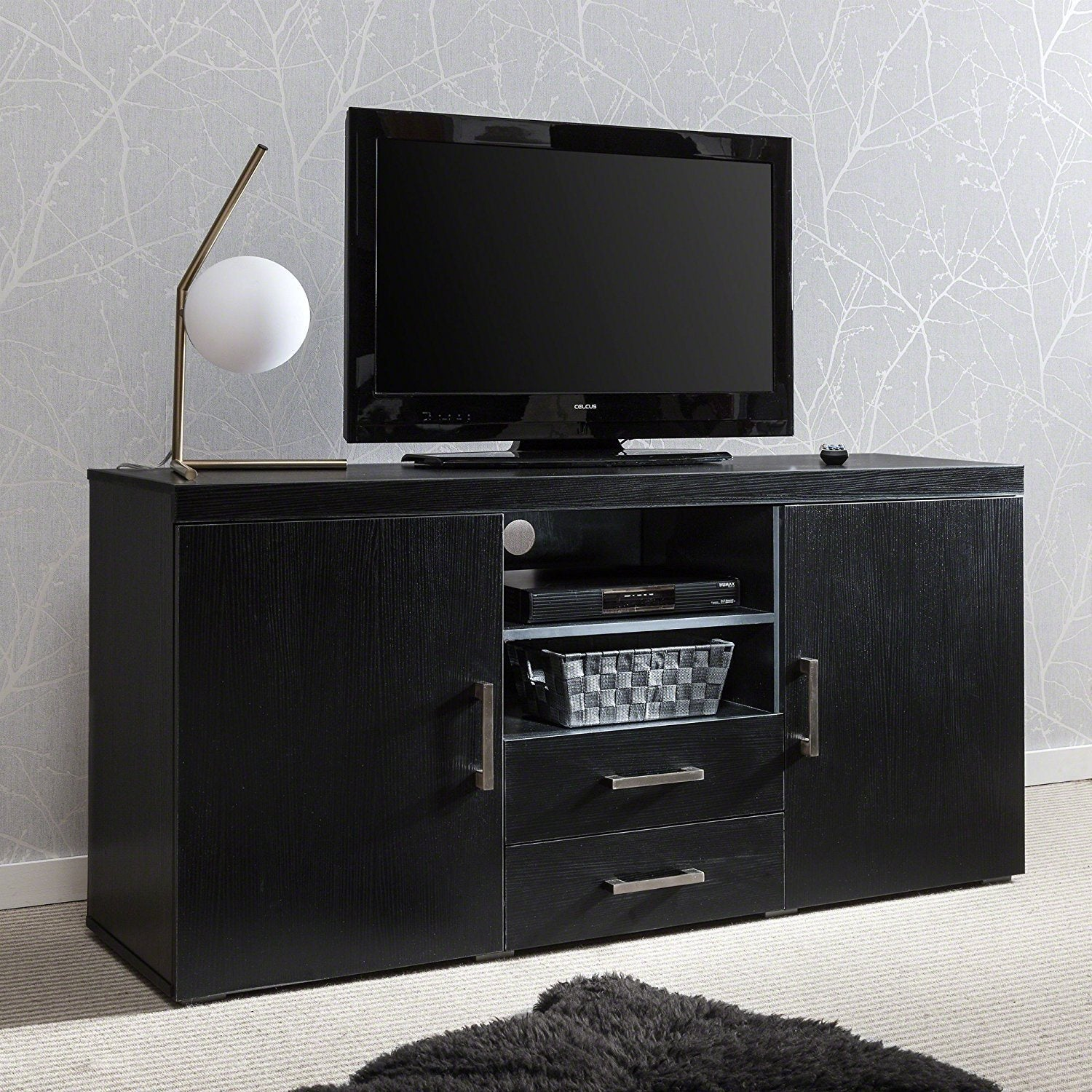 TV Stand Cabinet Unit Cupboard – with drawer and shelves (Black) - Laura James