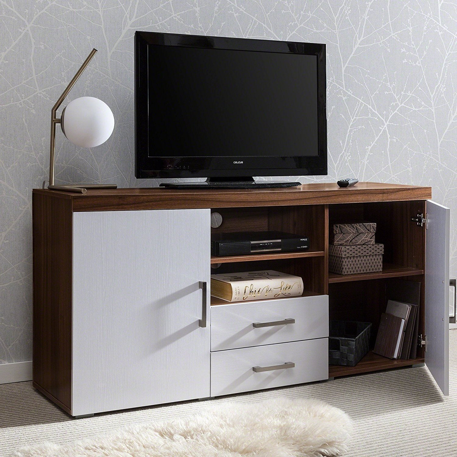 Sideboard Tv Cabinet With Drawer And Shelves Walnut White