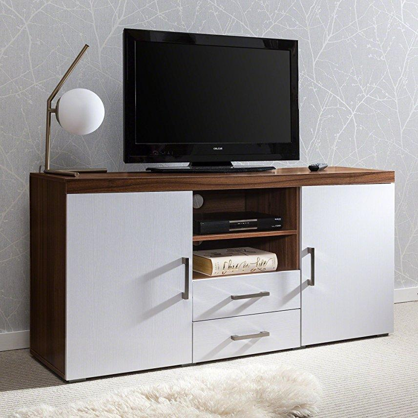 Sideboard / TV Cabinet with drawer and shelves Walnut/White - Laura James